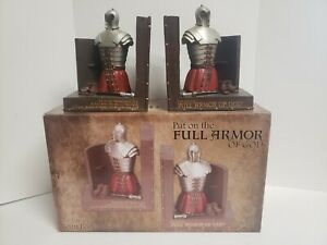 Set of (2) DICKSONS Full Armor of God Bookends Resin Castle Medieval Night