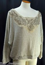 BKE BOUTIQUE BUCKLE DAYTRIP BEADED Shabby loose knit SWEATER top pullover SZ L