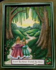 Holly Pond Hill Susan Wheeler 3 Dimensional Plaque Art SISTER BY CHANCE Rabbits