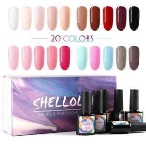 Shelloloh 20 Colour 10ml Soak Off Gel Nail Polish Varnish Glitter UV Gel DIY Kit