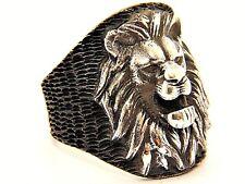 3D Lion Head Solid 925 K Argento Sterling Da Uomo Anello Pietra preziosa fatta a mano