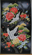 "23.75"" X 44"" Panel Akahana Japanese Crane Flowers Cotton Fabric Panel D764.39"