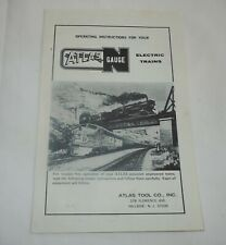 Early Atlas Tool Co N Scale Train Operating Instructions Pamphlet