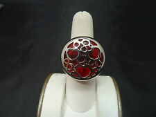 Choice By Chimento Stainless Steel over Red Crystal Heart Ring. Made in Italy