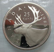 1985 CANADA 25 CENTS PROOF QUARTER HEAVY CAMEO COIN
