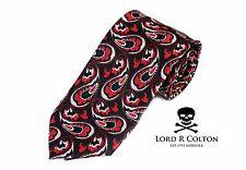 Lord R Colton Masterworks Tie Black Red Invincible Silk XL Necktie $195 New