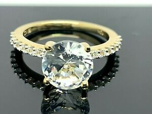 Engagement Ring 10k Yellow Gold Cubic Zirconia 2 Carats Center Women's Size 5