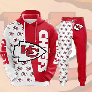 Kansas City Chiefs Tracksuit 2PCS Pullover Hoodie Jogging Sweatpants Sportswear