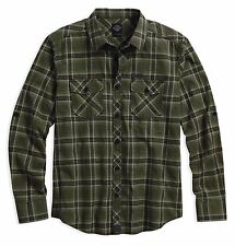 HARLEY DAVIDSON MENS SLIM FIT PLAID LONG SLEEVE WOVEN SHIRT 96650-17VM S