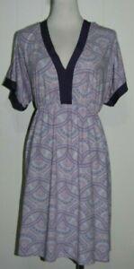 Adrienne Vittadini Purple V Neck Smocked Waist Short Dolman Sleeve Dress Plus 1X