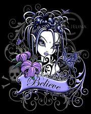 Believe Fairy Art Signed Myka Jelina Print Tattoo Flower Gothic Fae Sophia Lilly