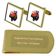 Garden Lawnmower Gold-Tone Cufflinks Money Clip Engraved Gift Set