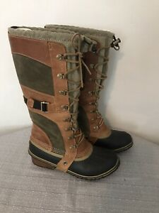RARE SOREL WOMENS CONQUEST CARLY BROWN LEATHER BOOTS NL1987 239 SIZE 7.5