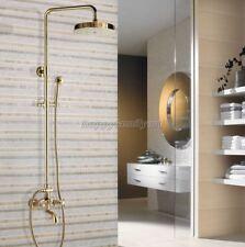Gold Brass Bathroom Rain Shower Faucet Set Dual Cross Handles tub Tap ygf445