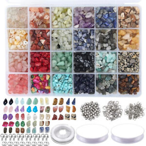 1323Pcs Irregular Crystal Chip Beads Stones Kit w/Lobster Clasps Jump Rings Tool