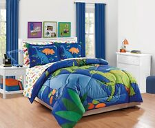 Fancy Linen 7pc Boys Full Comforter Set Dinosaurs Blue Green Orange New