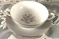 WEDGEWOOD GREY FRIAR PINK DOUBLE HANDLED SOUP BOWL AND UNDERPLATE