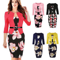 Elegant Women Office Work Floral Formal Business Party Bodycon Pencil Midi Dress