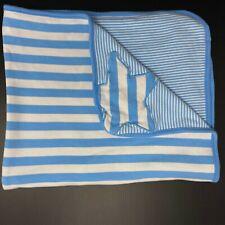 Gymboree Baby Blanket Blue White Stripes Star Cotton 2014 Reversible Striped