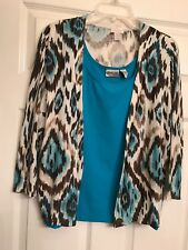 chicos size 2 cardigan,  24 Inches Long, Multi Color, Cotton-rayon, Sweater