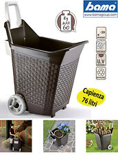 CARRELLO MULTIUSO 76 litri CARRIOLA CON RUOTE porta legna pellet foglie giardino