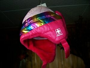 SWISSTECH GIRLS QUILTED TRAPPER HAT ONE SIZE FUSCHIA BURST COLOR FULLY LINED NEW