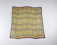 Vintage 60s Scarf Vera Neumann Yellow Orange Blue Stripe Sheer Nylon Flaw