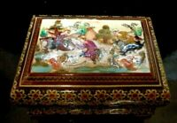Old VINTAGE  Fashioned Hand Painted Indian INLAYED AND HAND PAINTED Box 6 X 3 IN