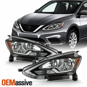 For 2016 2017 2018 Sentra [Halogen Type] Black Clear Headlights Passenger+Driver