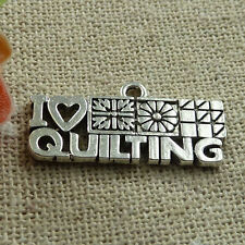 Free Ship 100 pieces tibetan silver i love quilting charms 24x12mm #1414