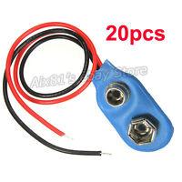 20pcs 9V 9-Volt Battery Clip Plug Snap On Connector Lead Holder Blue Soft Shell