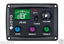 New JOYO JE-63 Ukulele UKE EQ Preamp 3-Band EQ Pickup Color silicon buttons
