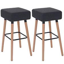 2x tabouret de bar Stirling, chaise de comptoir, tissu ~ gris foncé