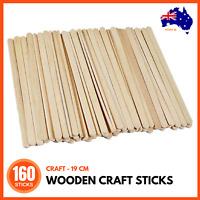 160 WOODEN Craft Stick Paddle Pop Popsicle Coffee Stirrers Ice Cream Sticks 19cm