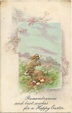 Original Vintage 1910s-20s Easter PC- Bunny- Rabbit- Colored Eggs- Happy Easter
