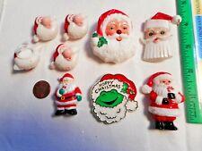 Vtg Plastic SANTA LOT Paula Co Hoppy Christmas Hallmark Russ ButtonCovers 5 PINS