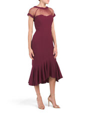 NWT Maggy London Flounce Illusion Dress Women's Beet Midi Sz 12