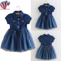 Toddler Kids Girls Short Sleeve Mesh Party Denim Dress Princess Dance Tutu Skirt
