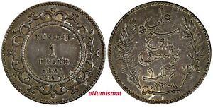Tunisia Ali III Silver 1308 (1891) A 1 Franc aUNC Rainbow Toned KM# 224 (18 935)