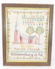 Vintage Needlepoint Framed Picture Art Cross Stitch Williamsburg Va.Church