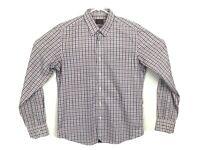 Untuckit Mens Size Medium Blue Pink Check Plaid Shirt Button Front Long Sleeve