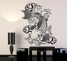 Vinyl Wall Decal Koi Japanese Fish Water Lily Flowers Asian Style Sticker 1283ig