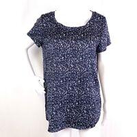 ANN TAYLOR Womens Sz M Blue Printed Short Sleeve Round Scoop Neck Blouse