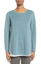 NWT Eileen Fisher Blue Steel Silk/Organic Cotton Interlock Box Top Sz.L $ 278