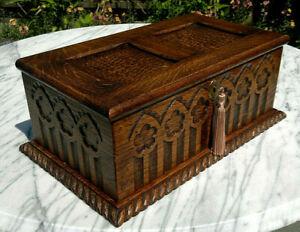 """Antique c1900 Gothic Arts & Crafts Oak Jewellery Box Table Casket 15"""""""