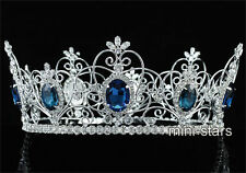 Pageant Beauty Contest Unisex Full Circle Tiara CZ Blue Sapphire Crown AT1720
