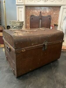 Antique Metal  Chest Trunk Box - Coffee Table  - Storage -