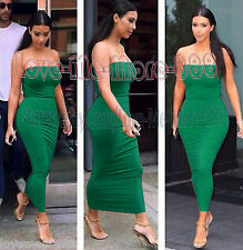 NEW WOMEN Tube Strapless Celebrity Party Club SUMMER Long Maxi Dress Bodycon (S)