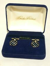 Brooks Brothers Genuine Onyx and Mother of Pearl Gold Filled Cufflinks Dress Set