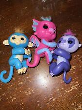 Lot of 3 Fingerlings WowWee Tested Working Dragon Sloth Monkey Blue Pink Purple